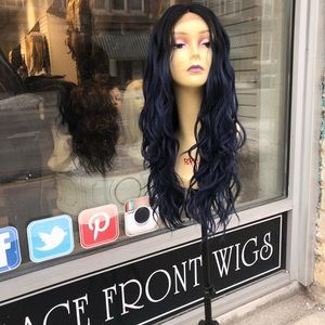 Accessories - Blue Long Loose Waves Lace Wig human hair blende